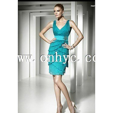 Trendy Sheath Column V Neck Mini Blue Cocktail Dress P
