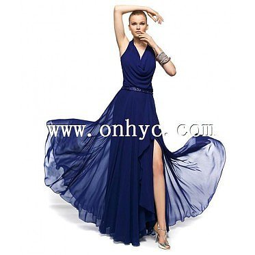 Sweet Sheath Column Halter Floor Length Blue Evening Dress