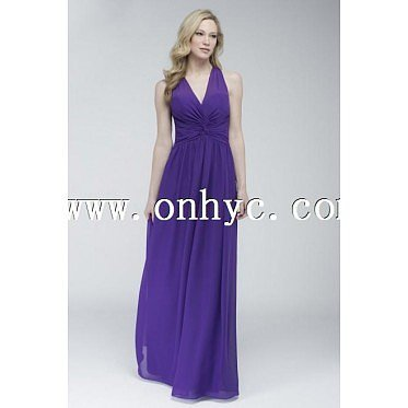 Charming A-Line V-Neck Empire Floor Length Chiffon Purple Sleeveless Key Hole Bridesmaids Dress with Draped