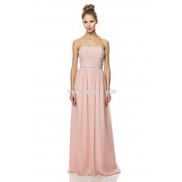 Charming A-Line Strapless Natural Train Chiffon Pink Sleeveless Zipper Bridesmaid Dress with Sashes and Draped