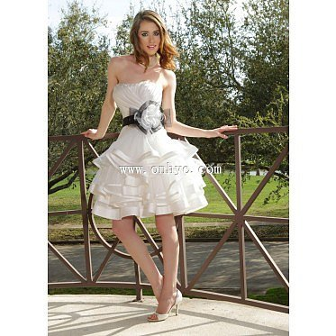 Chic A-Line Strapless Natural Short-Mini Organza Ivory Sleeveless Lace Up-Corset Party Dress with Flower and Draped