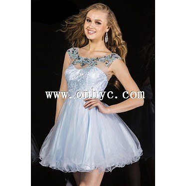 Chic A-Line Bateau Short-Mini Organza Light Sky Blue Zipper Party Dress with Crystals