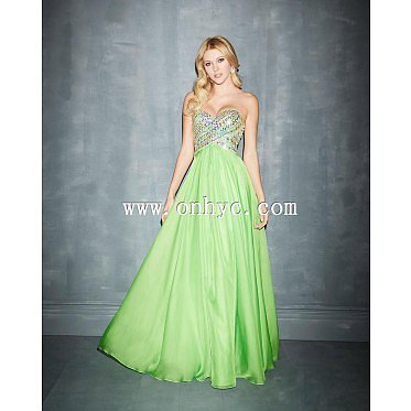Fancy A-Line Sweetheart Natural Floor Length Chiffon Sage Green Sleeveless Zipper Evening Dress with Sequin