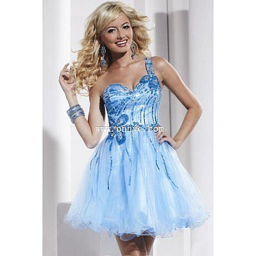 New Arrival A-Line One Shoulder Short-Mini Organza Light Sky Blue Zipper Cocktail Dress with Crystals and Sequin