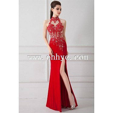 Chic Sheath-Column High Neck Floor Length Chiffon Red Open Back Cocktail Dress with Appliques and Crystals