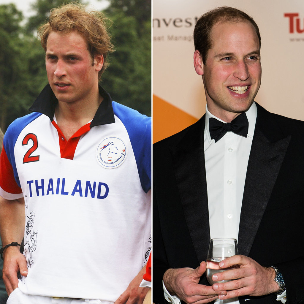 Prince William in 2005 and 2015