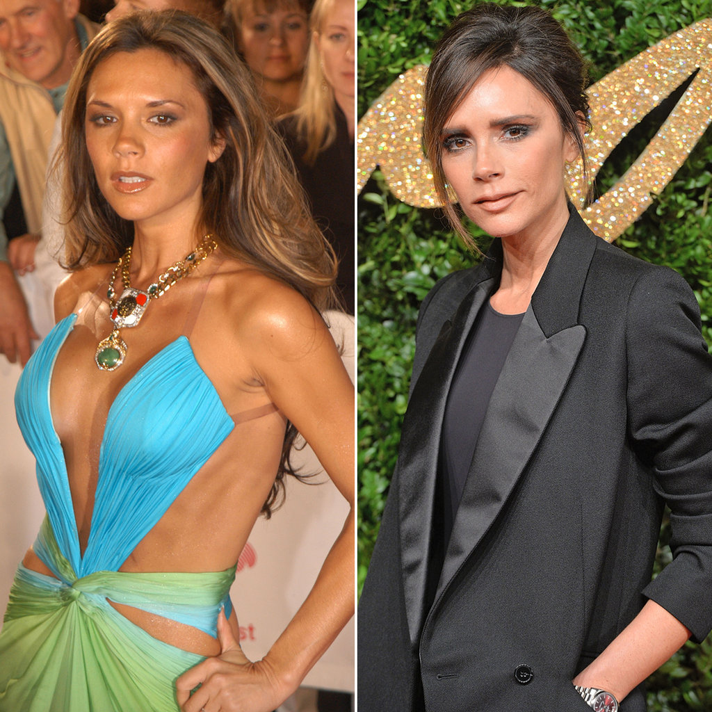 Victoria Beckham in 2005 and 2015