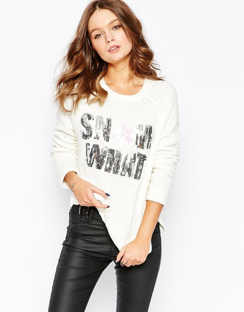 Fashion Union Sequin Snow What Christmas Jumper ($45)