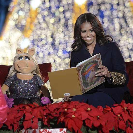 Michelle Obama's Gold Sleeve Coat at Christmas Tree Lighting