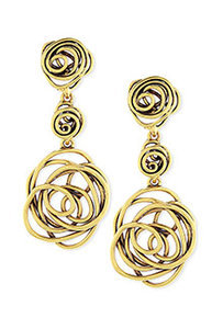 Oscar de la Renta Wire Rose Clip-On Drop Earrings