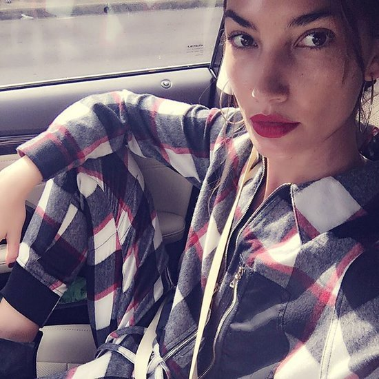 Lily Aldridge Wearing Plaid Jumpsuit