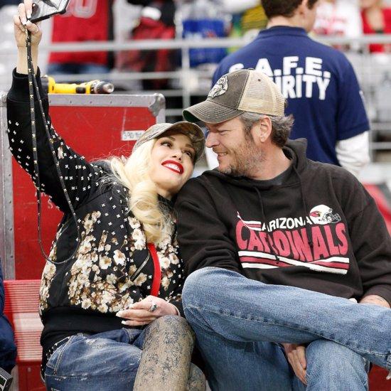 Gwen Stefani and Blake Shelton at Football Game 2015