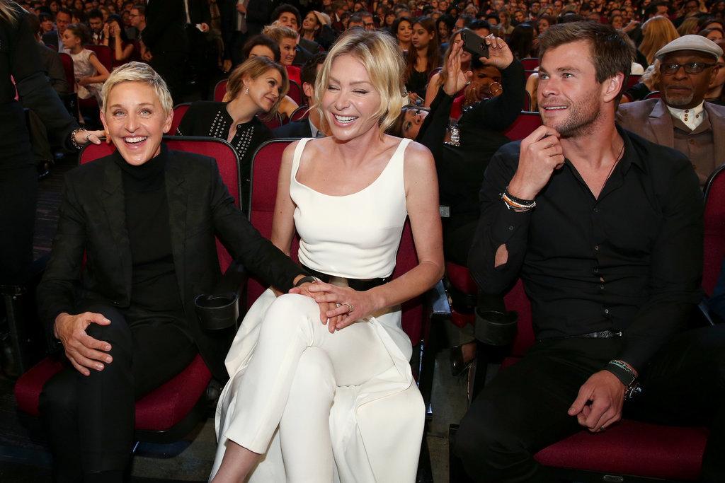 Ellen DeGeneres and Portia de Rossi cracked up with Chris Hemsworth.