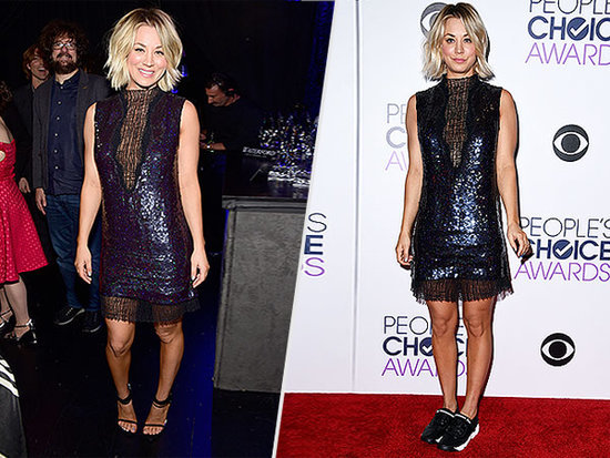Kaley Cuoco, Red Carpet Commuter! She Changed From Sneakers to Heels Inside the People's Choice Awards