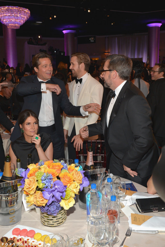 Brad Pitt, Ryan Gosling, and Steve Carell had a ball at their table.