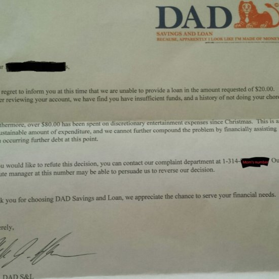 Dad Sends Official Bank Letter to Son Who Asked For Money