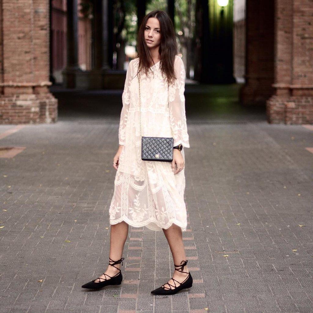 A Lacy Feminine Dress and Flats