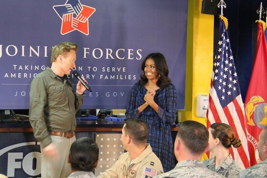 Conan and FLOTUS Entertain the Troops