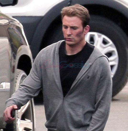 Chris Evans and Chadwick Boseman on set for Captain America: Civil War reshoots