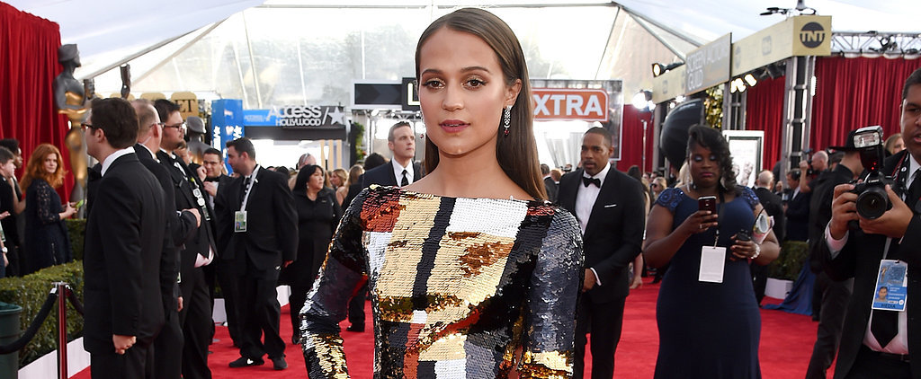 Alicia Vikander Wears a Sequined, Colorblock Masterpiece of a Dress to the SAG Awards