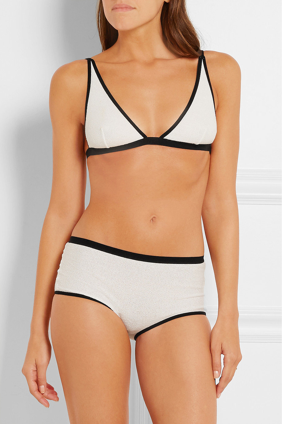 BASERANGE Bell two-tone cotton-blend crepe briefs ($65)
