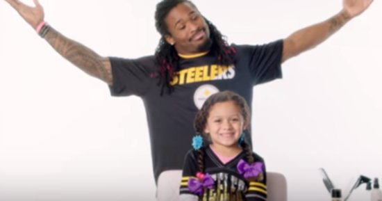 Football Players Attempting To Do Their Daughters' Hair Is The Best