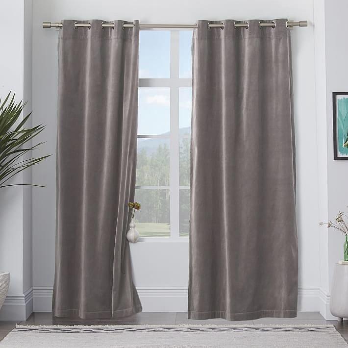 West Elm Velvet Grommet Curtain — Dove Gray ($79)