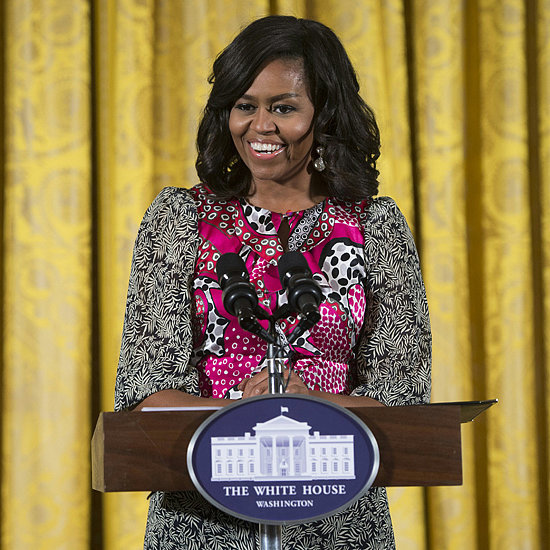 Michelle Obama Wearing a Pink Printed Dress