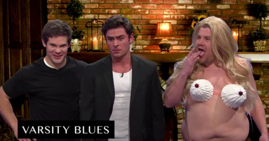 James Corden Pays Homage To 'Varsity Blues' In Whipped Cream Bikini