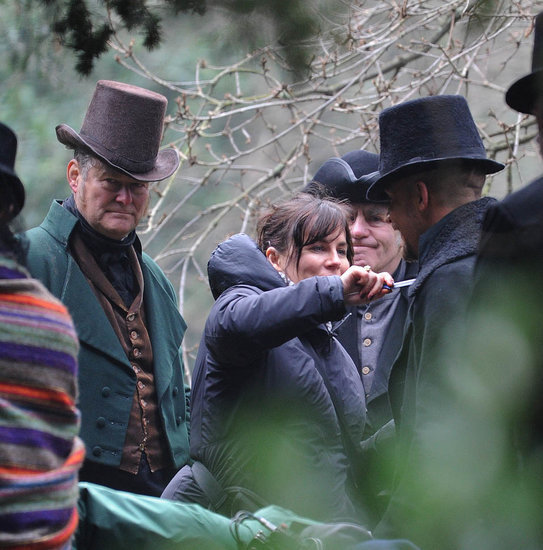 Tom Hardy gets his beard combed on the set of Taboo