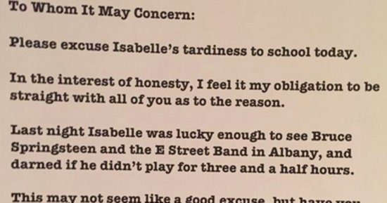 A Bruce Springsteen Superfan Wrote An Epic Late Note For His Daughter