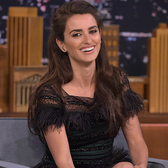 Penelope Cruz's Carolina Herrera Black Dress on Jimmy Fallon