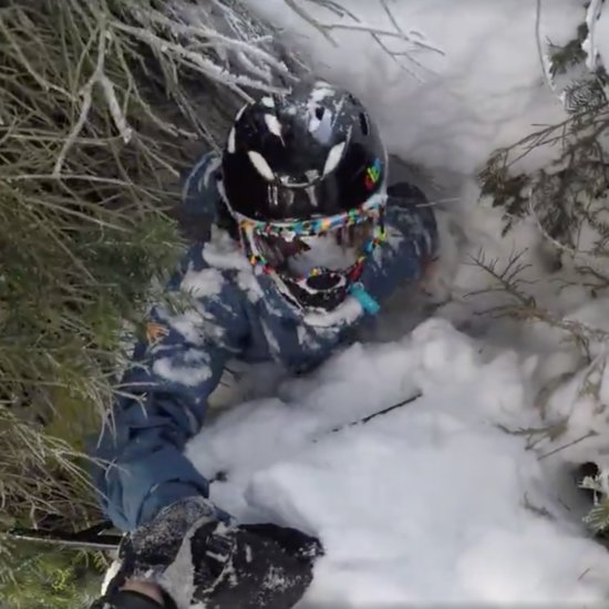 Dad Pulls Son Out of Tree Well While Skiing
