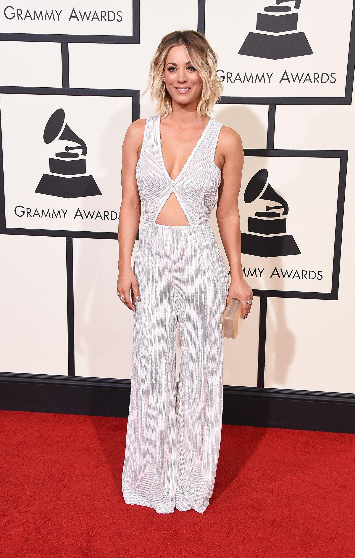 Kaley Cuoco S Jumpsuit At Grammys 2016 Popsugar Fashion