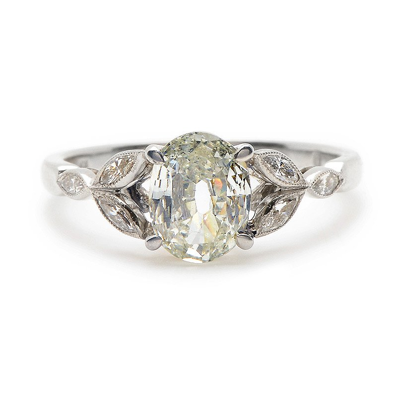 Oval shaped antique diamond engagement ring $10 400