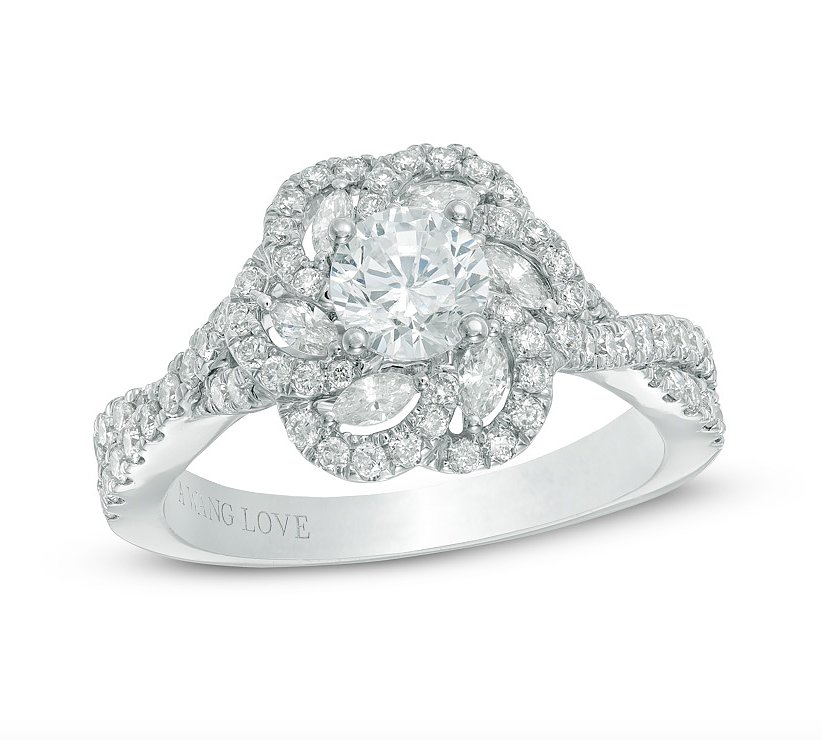 Zales Vera Wang LOVE Collection floral frame engagement ring $4 000