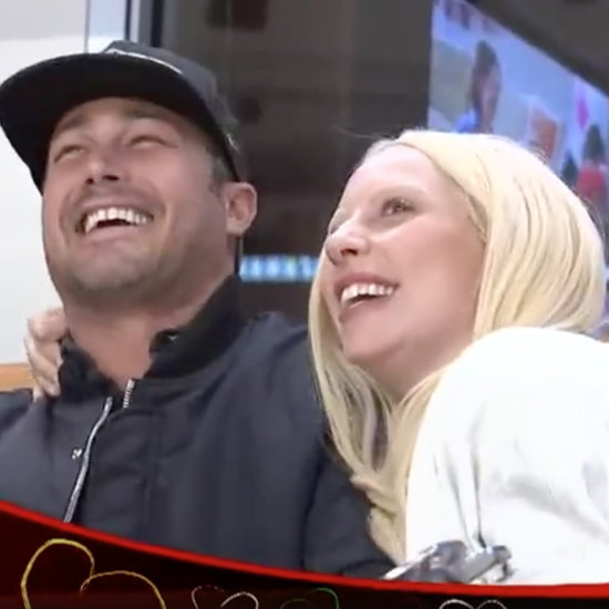 Lady Gaga and Taylor Kinney on the Blackhawks Kiss Cam 2016