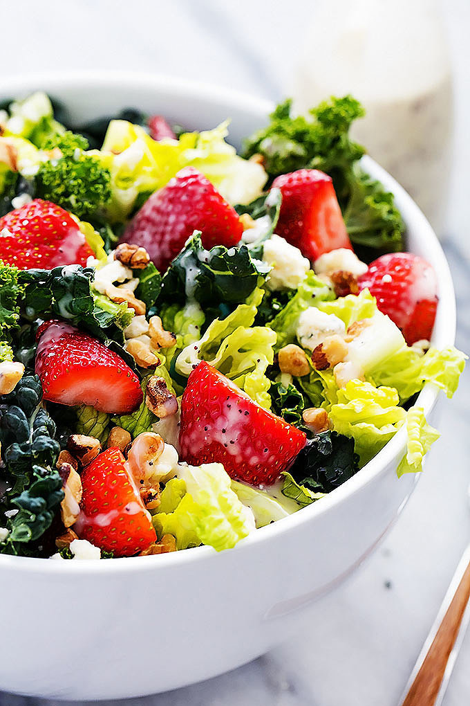 Strawberry, Poppyseed, and Chopped Kale Salad