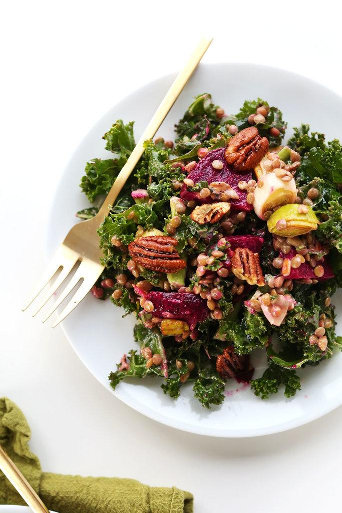 Kale, Lentil, and Roasted Beet Salad