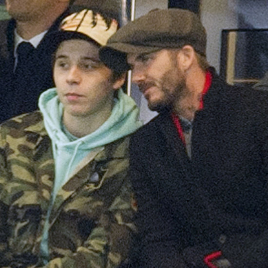 David and Brooklyn Beckham at PSG Champions League Game