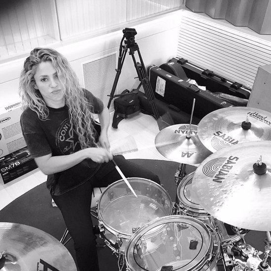 Shakira Playing the Drums in the Studio