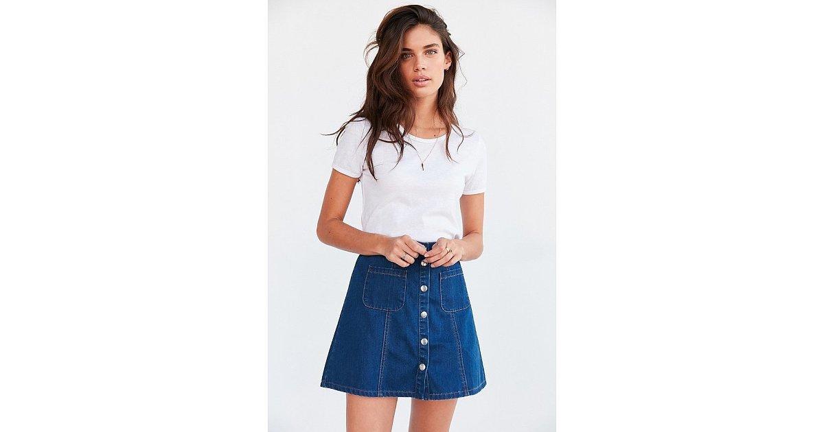 bdg denim button front skirt 59 36 takes on
