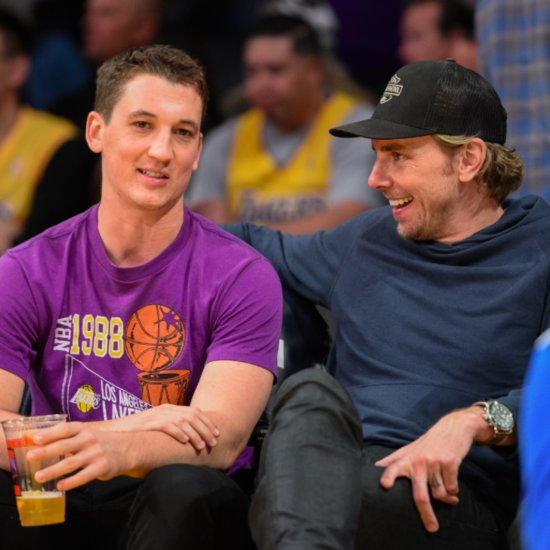 Miles Teller and Dax Shepard at Lakers Game April 2016