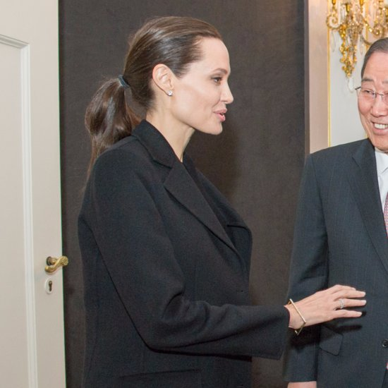 Angelina Jolie Wearing a Black Jacket April 2016