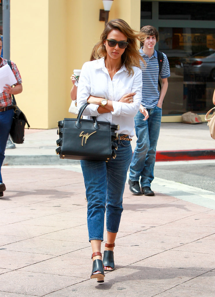 The classic combination of a white shirt and jeans always works wonders — especially when you add a cute pair of mules!
