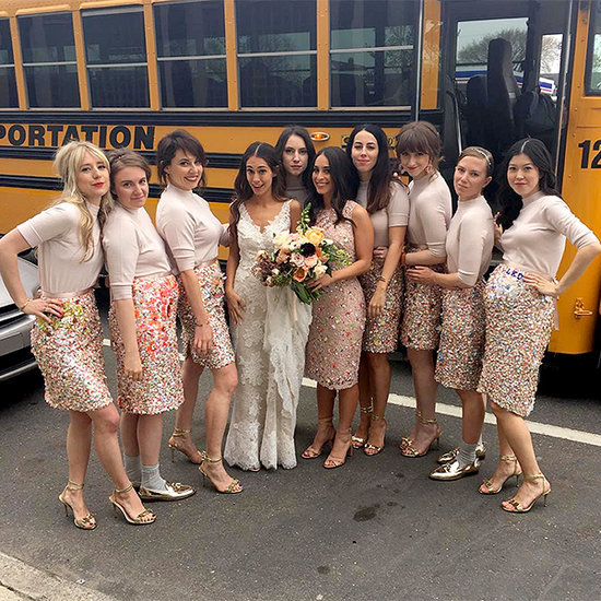 Lena Dunham Plays Bridesmaid in a Customized (and Sparkly) Skirt for Friend's Girls-worthy Detroit Wedding
