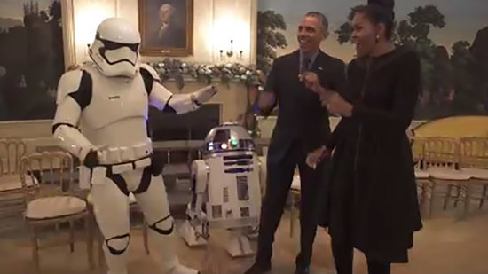 Barack and Michelle Obama Adorably Dance With Stormtroopers, R2-D2 for Star Wars Day