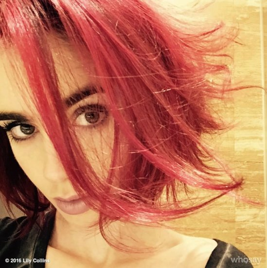 Lily Collins With Red Hair   May 2016