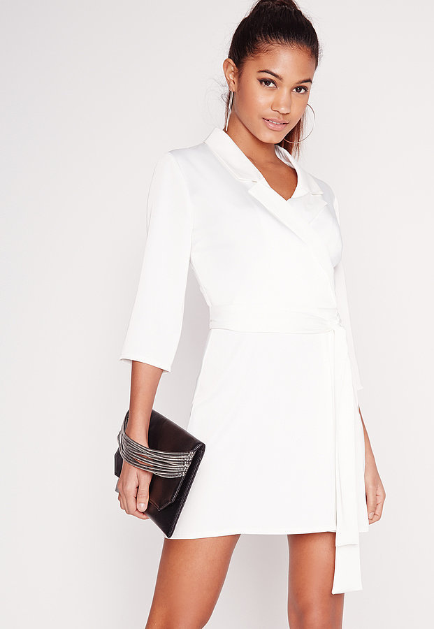 Missguided Silky Wrap Blazer Dress White ($60)