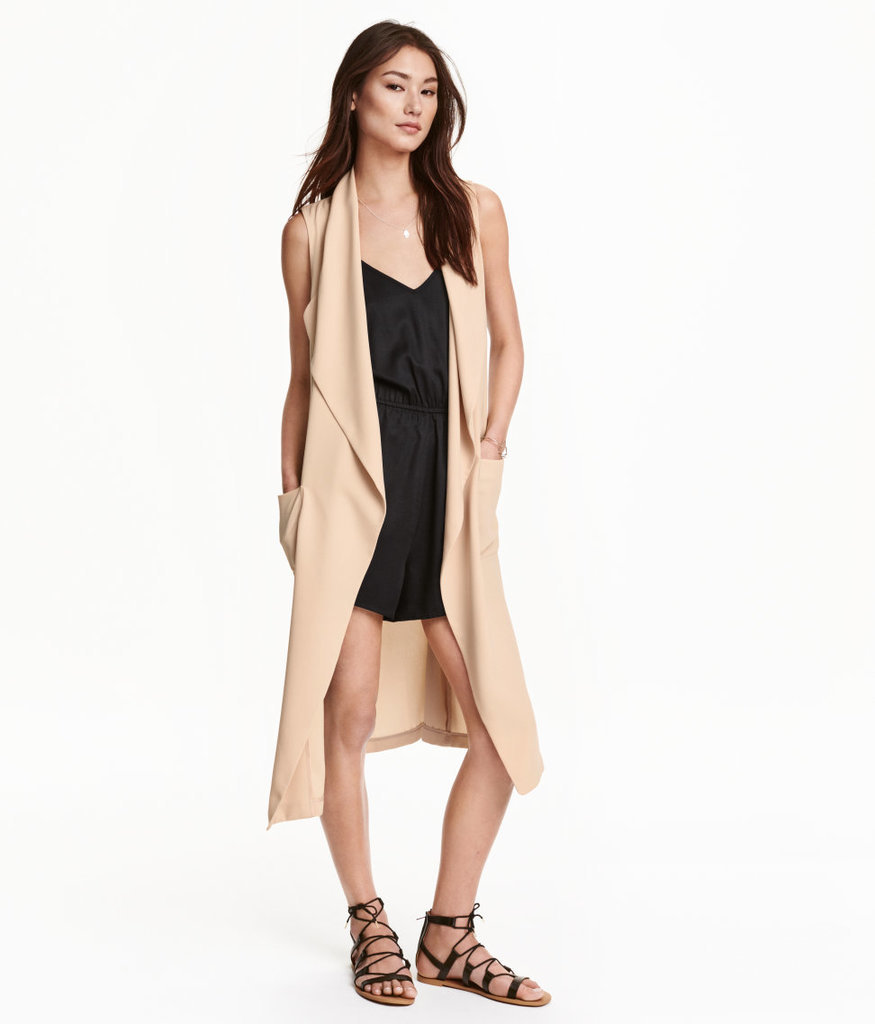 H&M Long Vest ($50) and Sleeveless Jumpsuit ($18)